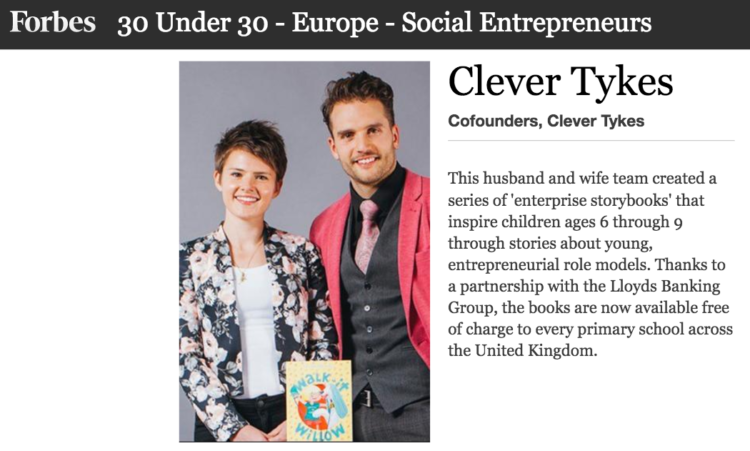 Clever Tykes in Forbes. Ben and Jodie Cook make the 30 under 30 list.