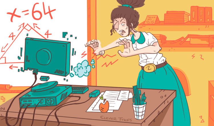 "Teacher Miss Green shown struggling with her computer in ""Code-it Cody"""